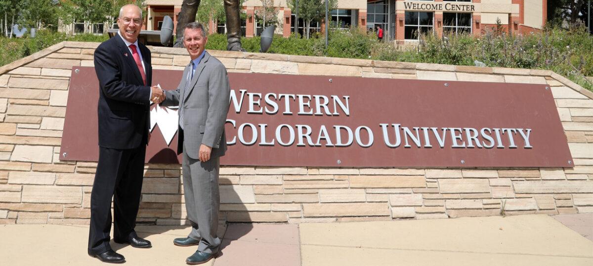 President Greg Salsbury and Dean Bobby Braun discuss partnership – Western Colorado University