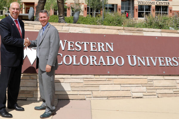 President Greg Salsbury and Dean Bobby Braun discuss partnership – Western Colorado University
