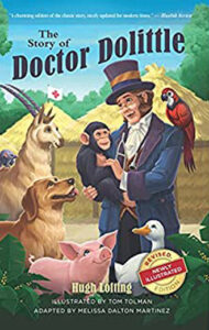 Artisitic photo of a man in a top hat interacting with a variety of wild animals