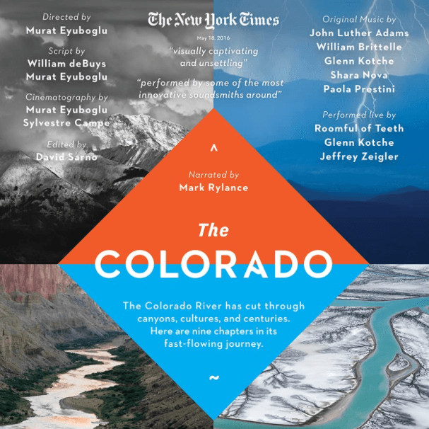 """Movie poster for """"The Colorado"""" film; artwork featuring rivers and mountain landscape photography"""